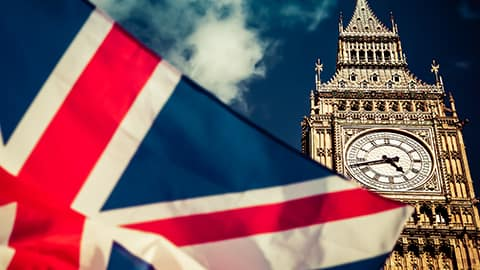 UK flag in front of Big Ben